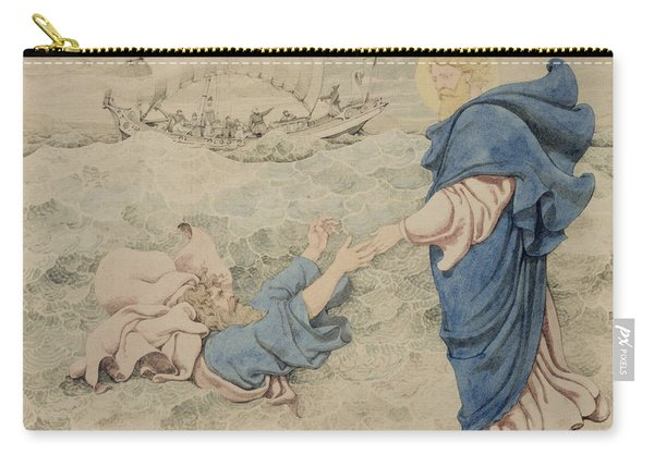 Sketch Of Christ Walking On Water Carry-all Pouch