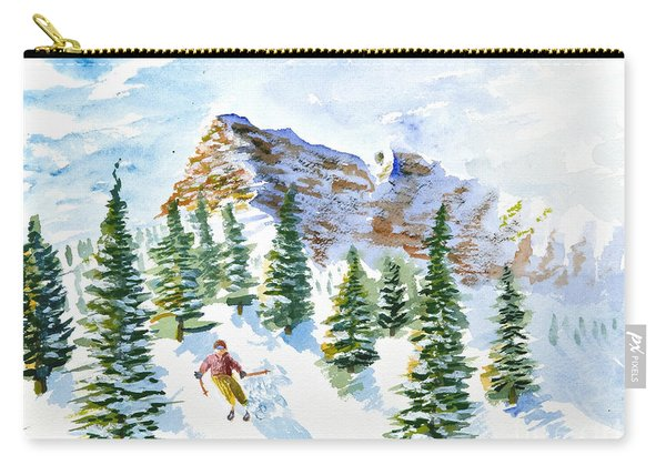 Skier In The Trees Carry-all Pouch