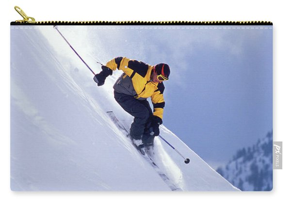 Skier On Powder Slope Carry-all Pouch