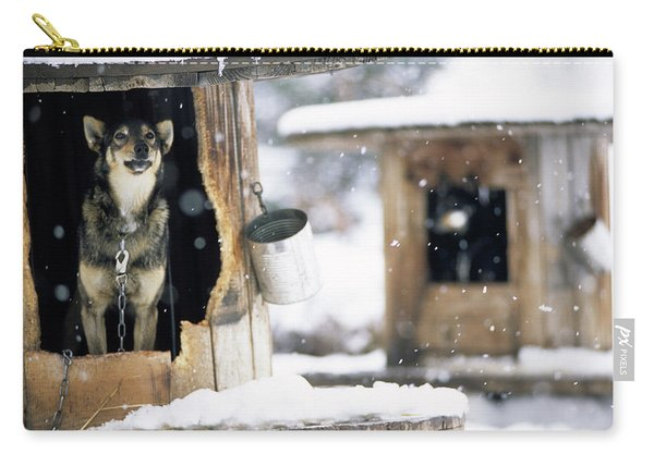 Sled Dogs Rest In Their Kennels Carry-all Pouch