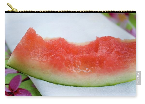 Slice Of Watermelon With Bites Taken On Fabric Napkin Carry-all Pouch