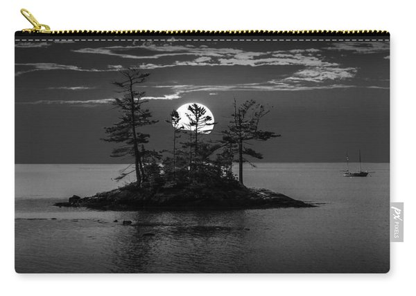 Small Island At Sunset In Black And White Carry-all Pouch