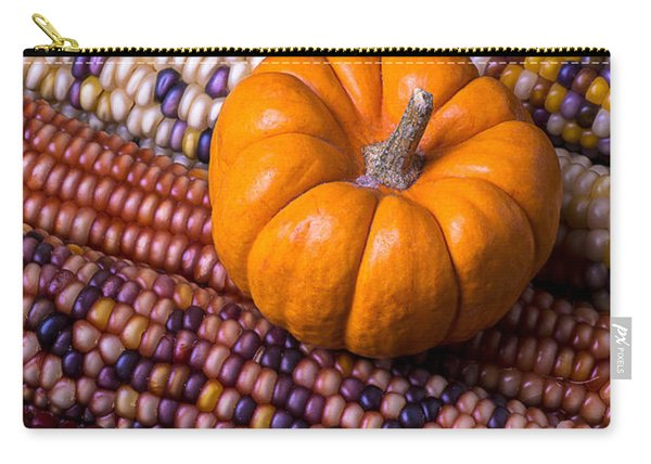 Small Pumpkin With Indian Corn Carry-all Pouch