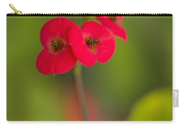 Carry-all Pouch featuring the photograph Small Red Flowers With Blurry Background by Jaroslaw Blaminsky