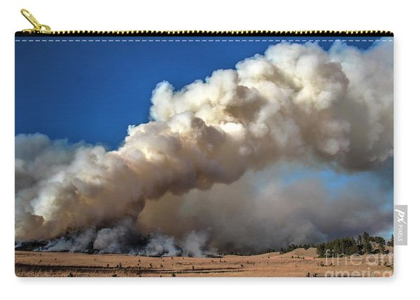 Carry-all Pouch featuring the photograph Smoke Column From The Norbeck Prescribed Fire. by Bill Gabbert