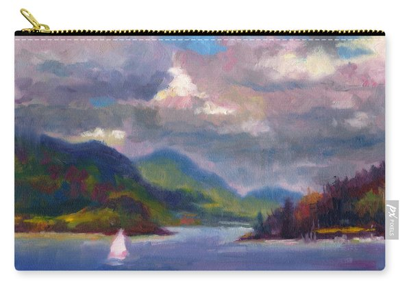 Carry-all Pouch featuring the painting Smooth Sailing Sailboat On Alaska Inside Passage by Talya Johnson