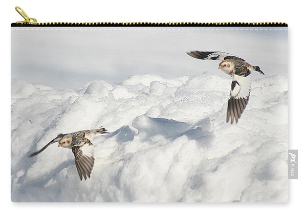 Snow Buntings In Flight Carry-all Pouch