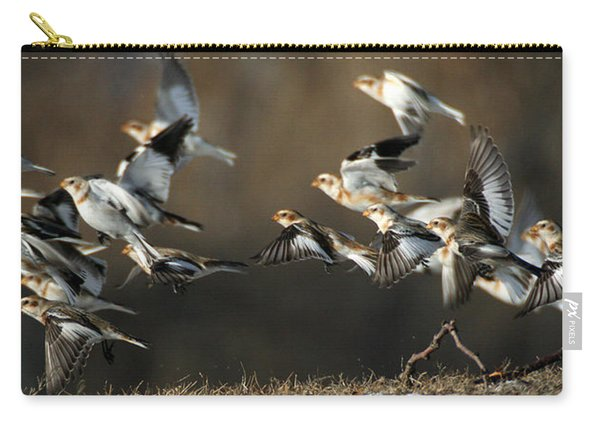 Snow Buntings Taking Flight Carry-all Pouch
