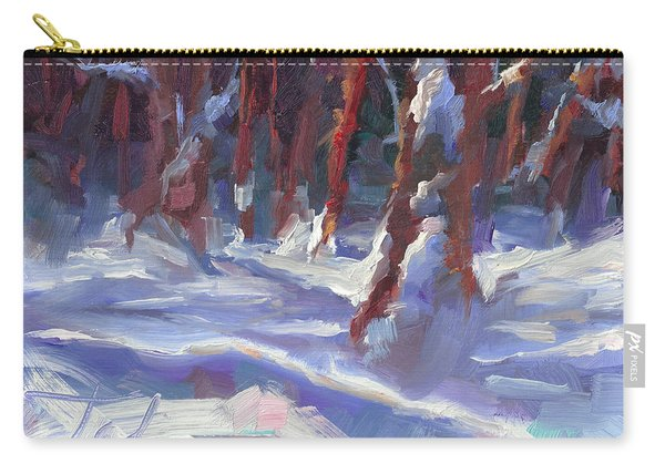 Carry-all Pouch featuring the painting Snow Laden - Winter Snow Covered Trees by Talya Johnson