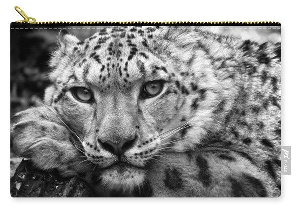 Snow Leopard In Black And White Carry-all Pouch