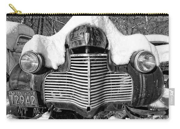 Snowed In A Thick Blanket Of Snow Covering A Vintage Chevy Carry-all Pouch