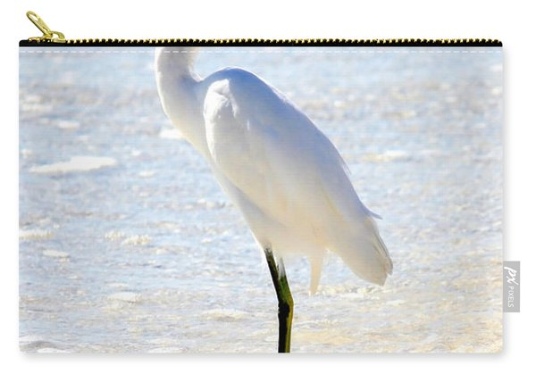 Egret On The Beach Carry-all Pouch