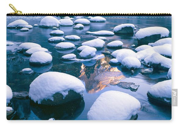 Snowy Merced River With Reflection Carry-all Pouch