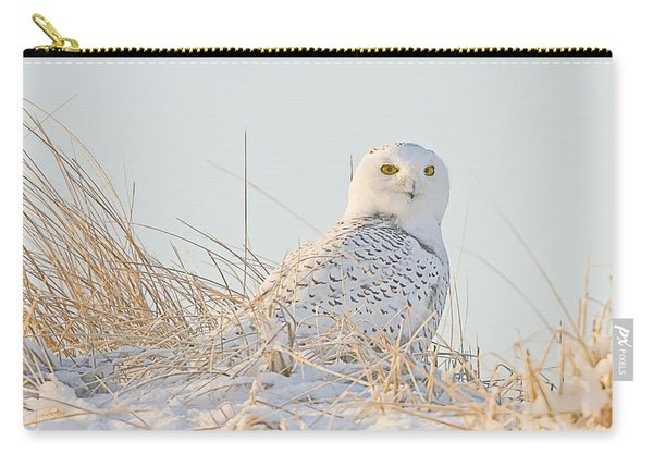 Snowy Owl In The Snow Covered Dunes Carry-all Pouch