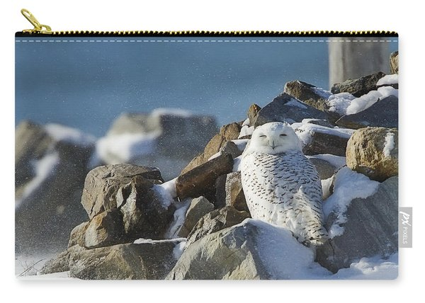 Snowy Owl On A Rock Pile Carry-all Pouch
