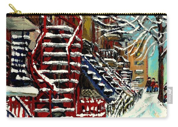 Snowy Steps The Red Staircase In Winter In Verdun Montreal Paintings City Scene Art Carole Spandau Carry-all Pouch