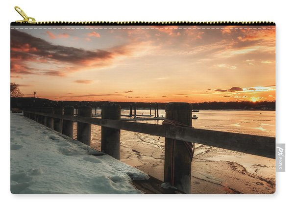 Snowy Sunset In Northport New York Carry-all Pouch