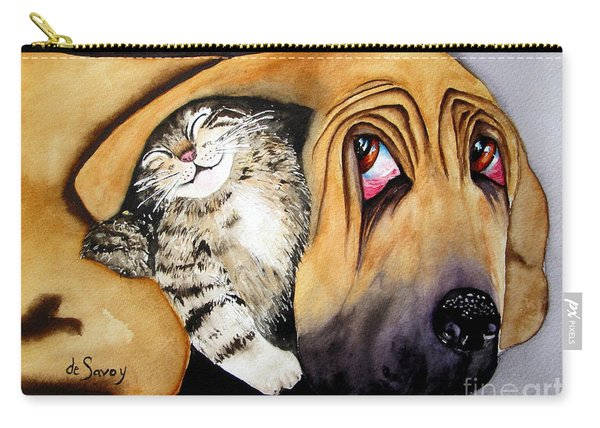 Carry-all Pouch featuring the painting Snuggles by Diane DeSavoy