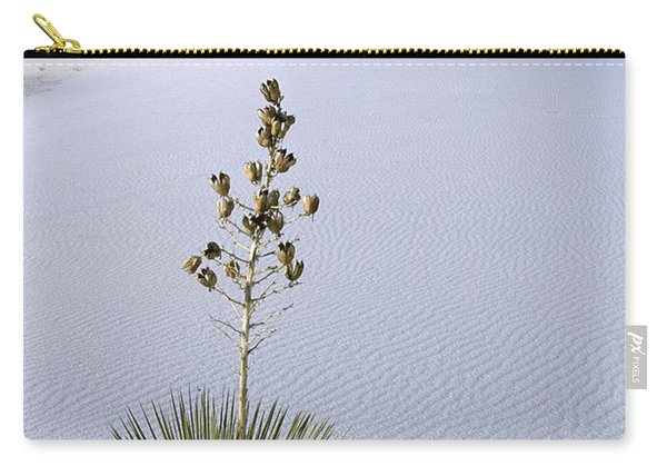 Soaptree Yucca In Gypsum Sand White Carry-all Pouch