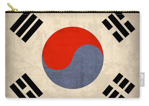 South Korea Flag Vintage Distressed Finish Carry-all Pouch