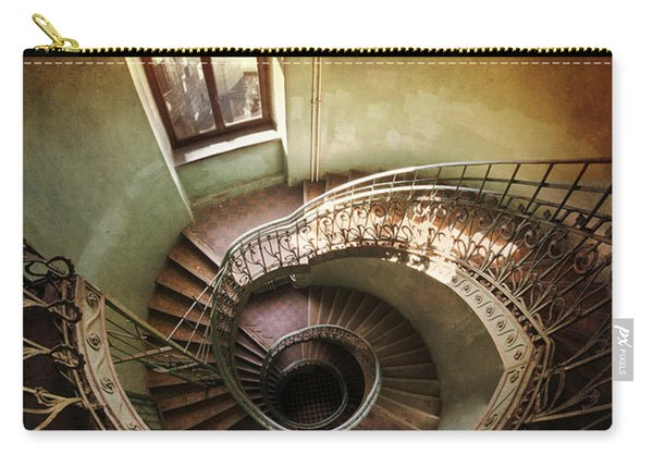 Carry-all Pouch featuring the photograph Spiral Staircaise With A Window by Jaroslaw Blaminsky