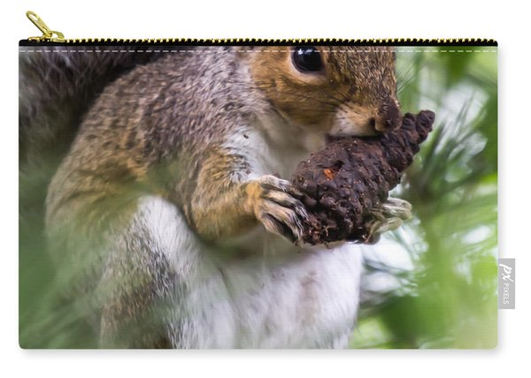 Carry-all Pouch featuring the photograph Squirrel With Pine Cone by Scott Lyons