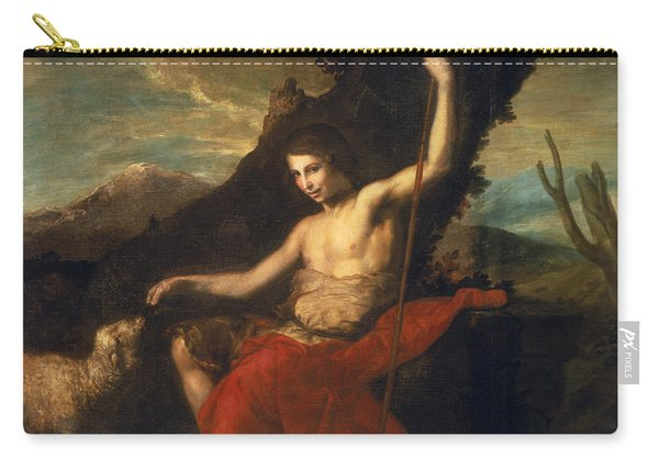 St. John The Baptist In The Wilderness Oil On Canvas Carry-all Pouch