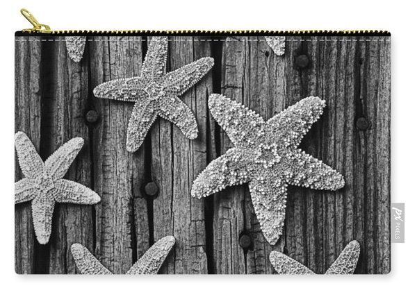 Starfish On Old Wood Black And White Carry-all Pouch