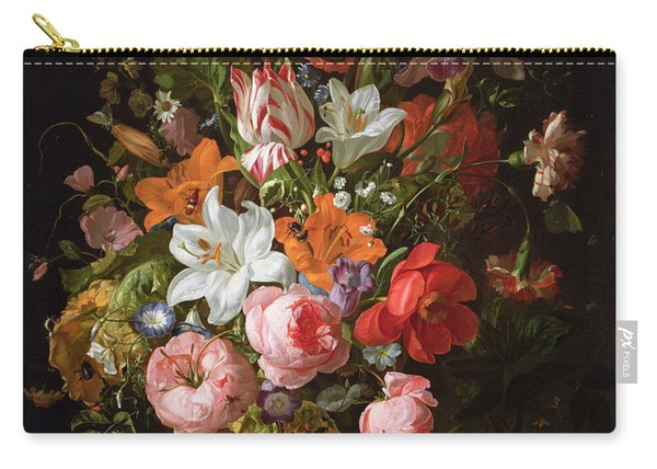 Still Life Of Roses, Lilies, Tulips And Other Flowers In A Glass Vase With A Brindled Beauty Carry-all Pouch
