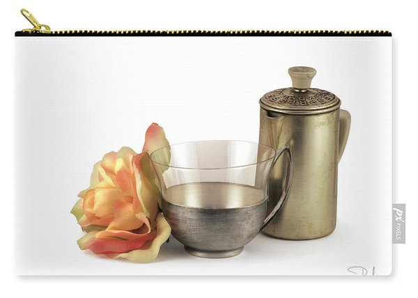 Still Life With Old Cup Rose And Coffe Pot Carry-all Pouch