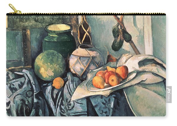 Still Life With Pitcher And Aubergines Oil On Canvas Carry-all Pouch