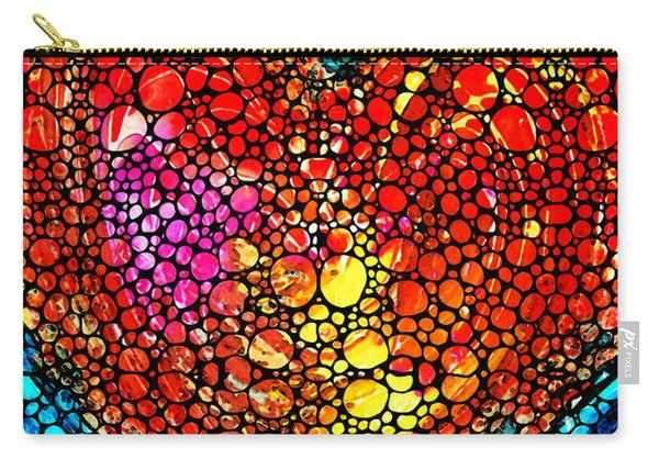 Stone Rock'd Heart - Colorful Love From Sharon Cummings Carry-all Pouch