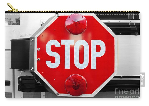 Stop Bw Red Sign Carry-all Pouch
