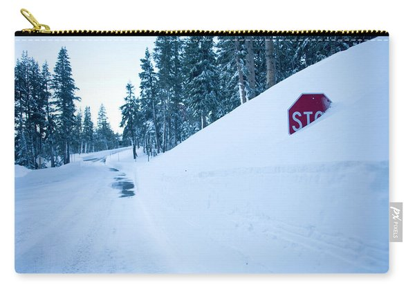 Stop Sign Buried In Snow At Kirkwood Carry-all Pouch