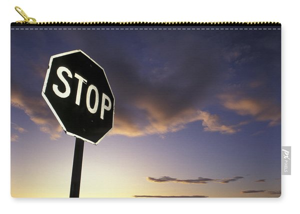 Stop Sign In Sunset Sky In Utah Carry-all Pouch