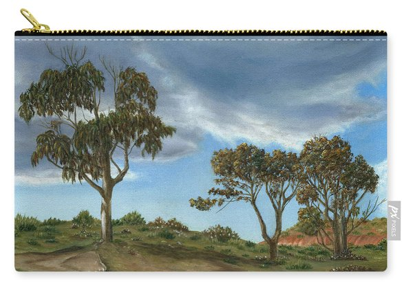 Carry-all Pouch featuring the painting Stormy Eucalyptus by Angeles M Pomata