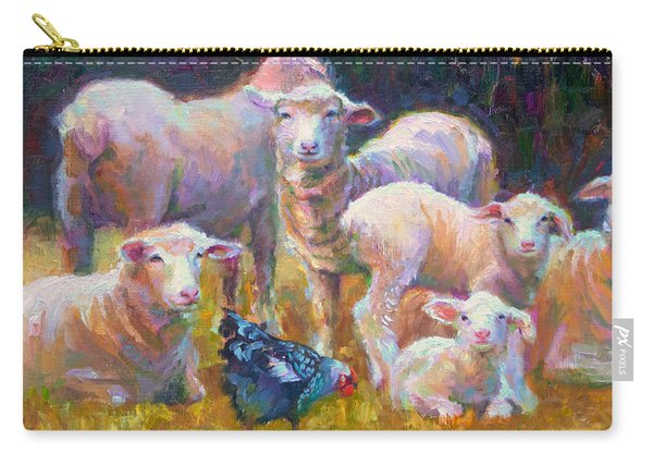 Carry-all Pouch featuring the painting Stranger At The Well - Spring Lambs Sheep And Hen by Talya Johnson