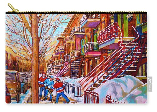 Street Hockey Game In Montreal Winter Scene With Winding Staircases Painting By Carole Spandau Carry-all Pouch
