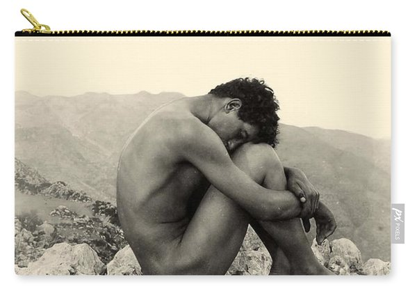 Study Of A Male Nude On A Rock In Taormina Sicily Carry-all Pouch