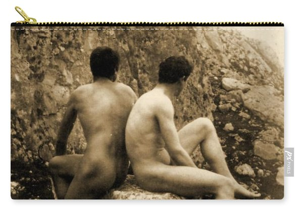 Study Of Two Male Nudes Sitting Back To Back Carry-all Pouch