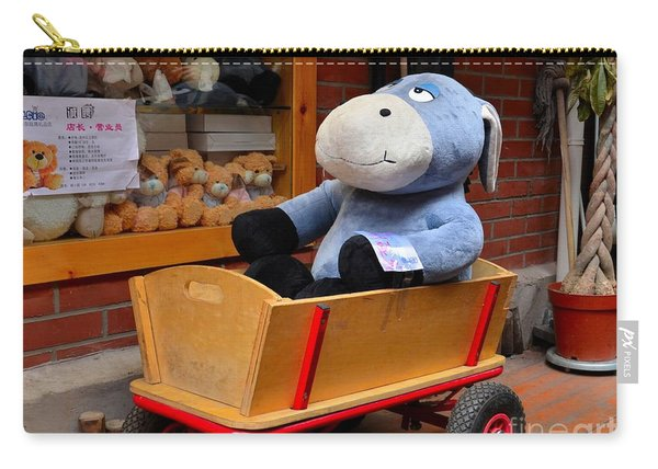 Stuffed Donkey Toy In Wooden Barrow Cart Carry-all Pouch