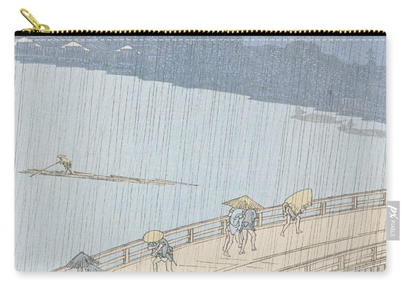 Sudden Shower On Ohashi Bridge At Ataka Carry-all Pouch