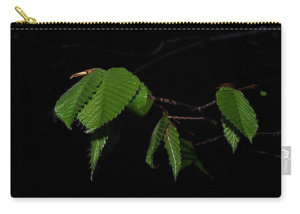 Summer Leaves On Black Carry-all Pouch