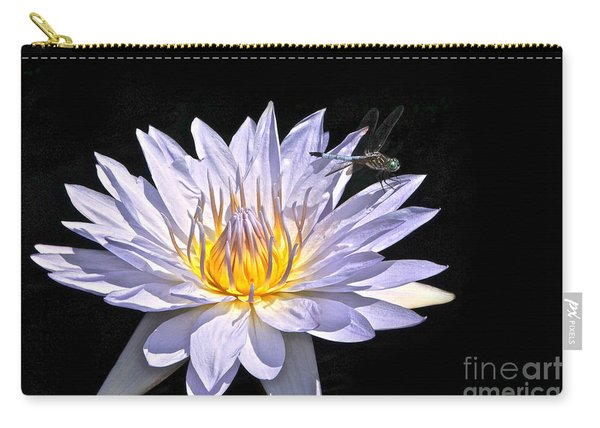 Summer Magic -- Dragonfly On Waterlily On Black Carry-all Pouch