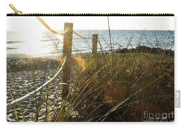 Sun Glared Grassy Beach Posts Carry-all Pouch