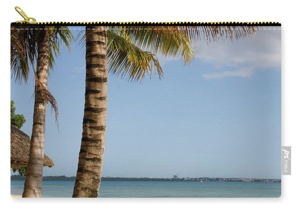 Sun Lounger, Beach And Palm Trees Carry-all Pouch