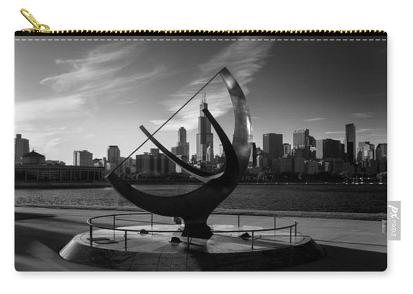 Sundial And Chicago Il B W Carry-all Pouch