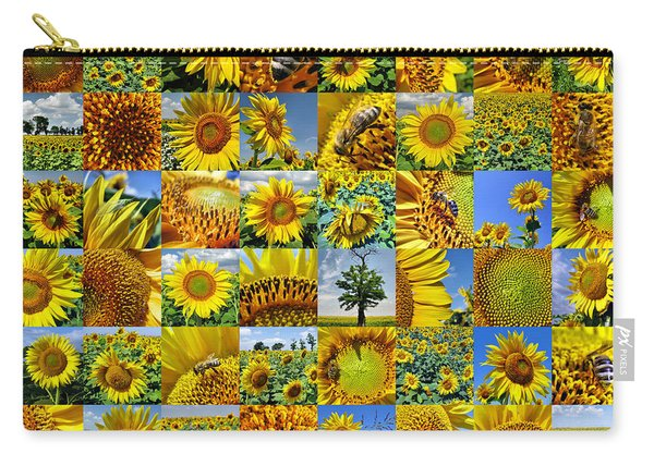 Sunflower Field Collage In Yellow Carry-all Pouch