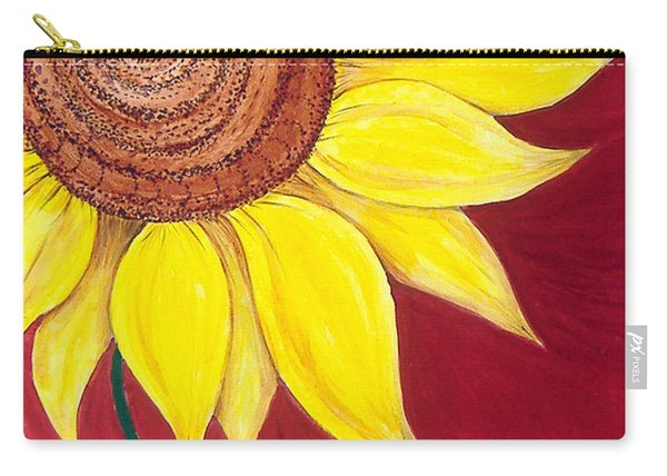 Sunflower On Red Carry-all Pouch