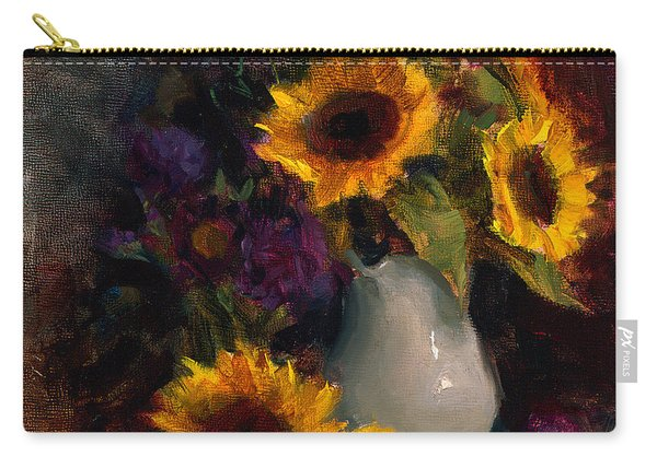 Sunflowers And Porcelain Still Life Carry-all Pouch